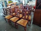(8) Henkel-Harris Queen Anne Style Cushioned Dining Table Chairs (6 side, 2 captain)