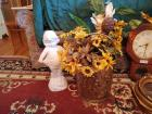 Brass Bucket With Sunflowers & Plaster Girl Figurine
