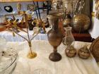 Brass Urn, Candelabra, Oil Lamps