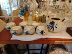 Empress Fine China Bowls & Plates, (6) MCI Cups, Glass Serving Bowl With (3) Small Matching Bowls (a few may be chipped)