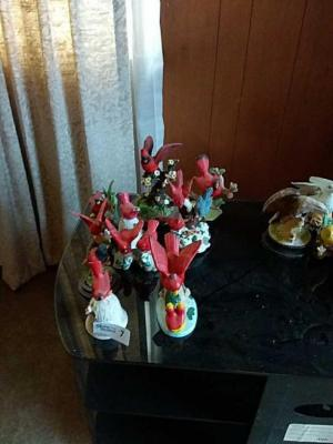 Decorative Red Bird Figurines