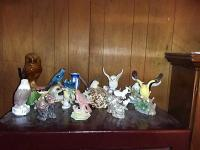 Decorative Bird Figurines, Vase & (2) Cats