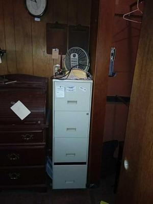 4-Drawer Metal Filing Cabinet & Contents On Top