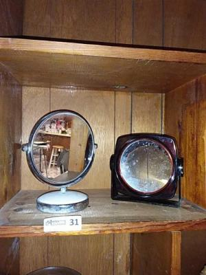 Vintage 2-Sided Mirror (1 side magnifies) & Another 2-Sided Mirror
