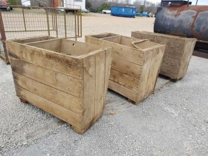 (3) WOODEN FEED BOXES