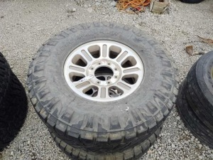 (2) 8 LUG WHEELS W/ 37 X 12.50R18 LT TIRES