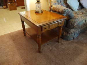 PAIR OF WOODEN END TABLES (MATCHES LOT 11)