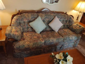 VINTAGE SOFA WITH WOOD TRIM