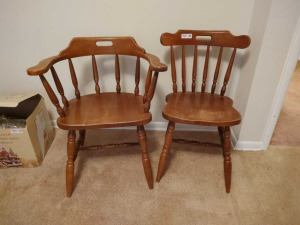 MATCHING WOODEN DINING CHAIR & CAPTAINS CHAIR