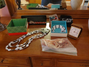 COSTUME JEWELRY & TRAVEL CLOCK