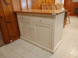 WOODEN DROP LEAF KITCHEN ISLAND WITH  STORAGE