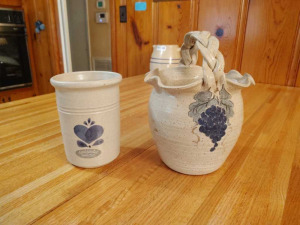 POTTERY BASKET & VASE