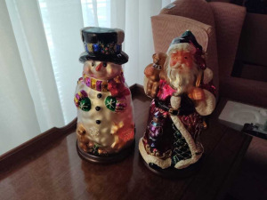 GLASS SNOWMAN & SANTA CLAUSE FIGURINES