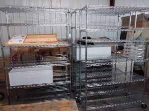 (3) Roll-Around Metal Racks