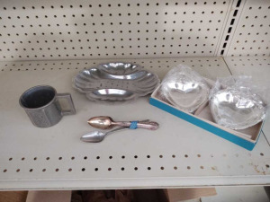 SMALL METAL SERVING TRAYS, CHILD MUG & VINTAGE SPOONS