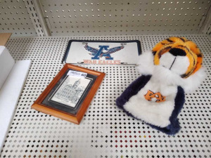 AUBURN TAG, FRAMED PRINT & GOLF CLUB SOCK
