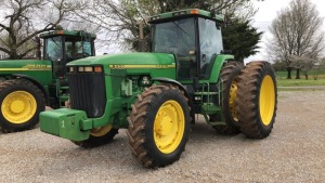 John Deere 8400 Tractor, 4WD, dual wheels; S#RW8400PQ02584; 7,696 hrs (TRACTOR & EQUPMENT HOURS LISTED IN DESCRIPTIONS & PICTURES ARE NOT GUARANTEED.  PLEASE INSPECT EACH PIECE YOU ARE INTERESTED IN PERSONALLY.)