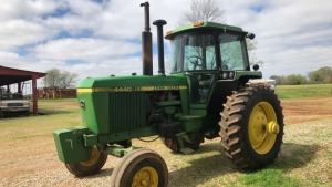 John Deere 4440 Tractor, 2WD, C/A/D, FW, QK Hitch; S#R016203R; 9376.6 hrs; has dual wheels (TRACTOR & EQUPMENT HOURS LISTED IN DESCRIPTIONS & PICTURES ARE NOT GUARANTEED.  PLEASE INSPECT EACH PIECE YOU ARE INTERESTED IN PERSONALLY.)