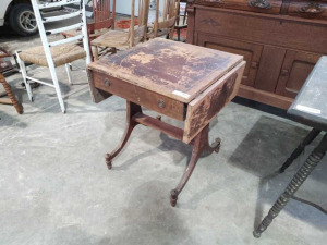 Vintage Side Table With Drop Leaf Sides