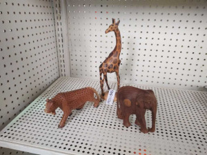 Wood Figurines:  Giraffe, Elephant & Leopard
