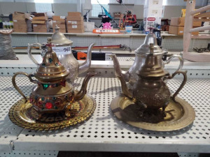 Jeweled Brass, Brass & Silver Tea Pots