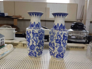 BLUE & WHITE CERAMIC TALL VASES, MATCHING