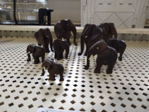 Hand Carved Wood Elephants
