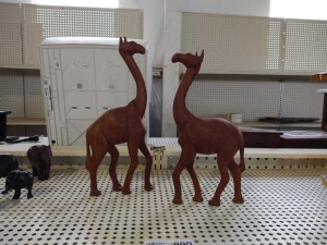Hand Carved Wood Giraffes