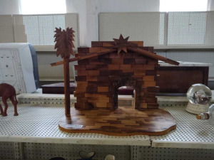 Hand Carved Wood Nativity Stable