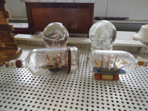 Ships In A Bottle, Holy Family Water Globe & Hummingbird Water Globe