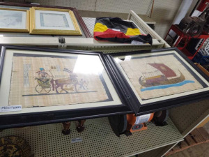 Framed Egyptian Art On Papyrus