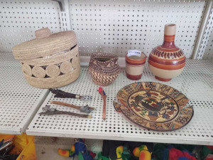 Woven Baskets, Pottery Pitcher With Matching Cup, Decorative Plate (broken)