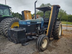 7740 New Holland Tractor w/ (2) 7' Side Frail Mowers & 7' 3 Pt. Hitch Frail Mower;  Showing 1,699 HRS