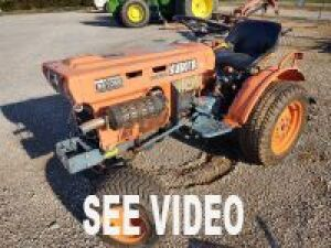 KUBOTA B5100E DIESEL TRACTOR AND ATTACHMENTS; 2 WHEEL DRIVE WITH 3 PT. HITCH SPRAYER & 3 PT. HITCH TILLER