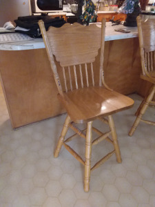 (2) Blonde High Back Swivel Bar Stools