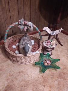 Weaved Basket With Duck & Eggs And Ceramic Pitcher