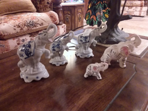 Glazed Ceramic Elephant Figurines