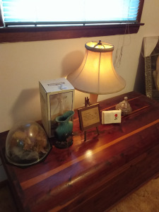Floral Under Glass, Small Ceramic Ewer, Table Lamp, Hurricane Lamp (cedar chest not included)