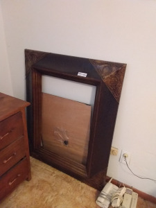 Large Wood Picture Frame & Telephones