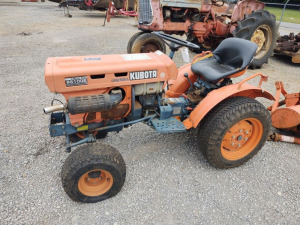 KUBOTA B5100E DIESEL 2-WHEEL DRIVE TRACTOR WITH  3PT. HITCH SPRAYER & 3PT. HITCH TILLER***RUNS & DRIVES