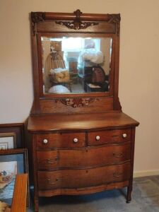 "Vintage Dresser With Mirror (76"" tall x 19.5"" deep x 42"" wide)"