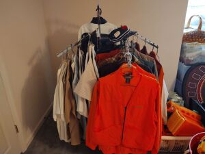 Multi-Arm Clothes Rack With Clothes