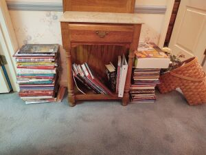 Assortment Of Quilting & Sewing Books And Stair Basket