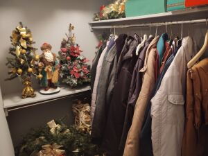 Contents Of Closet:  assortment of jackets & Christmas décor