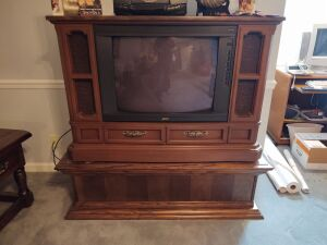Tube Console Television, Coffee Table, VCR & VCR Tapes