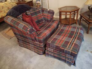 Vintage Cloth Arm Chair With Matching Ottoman