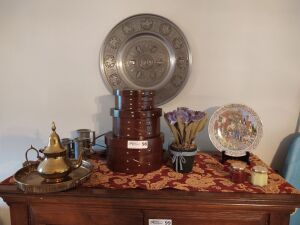 Trinket Boxes, Silver Plated Tea Pot With Serving Tray, Vintage Pewter Measuring Cups & Maybe Pewter Embossed Platter