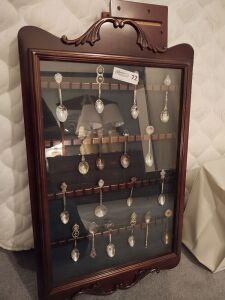 Bombay Company's Spoon Collector's Cabinet With Souvenir Spoons & Wood Shelf