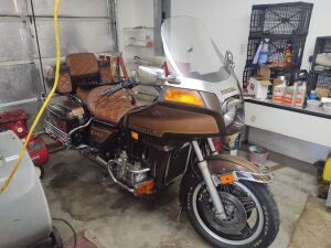 1982 Honda Goldwing GL1100A CC Motorcycle, Aspencade, Gold/Brown; 23,579 miles; VIN 1HFSC0222CA221019