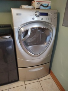 GE Front Load Washer With Storage Pedestal
